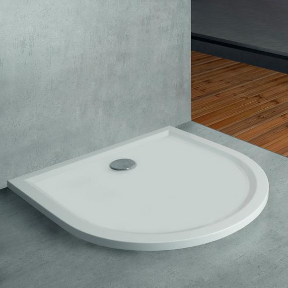 hoesch sonstige hoesch muna halbrunde duschwanne l 110 b 90 cm wei. Black Bedroom Furniture Sets. Home Design Ideas
