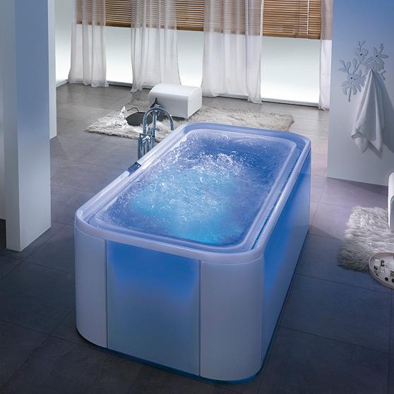 Hoesch ergo rechteck whirlpool freistehend l 207 5 b 107 5 h 48 cm glas wei verkleidung - Whirlpool badewanne freistehend ...