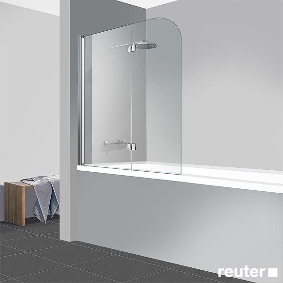 reuter kollektion easy neu badewannenaufsatz 2 teilig klar hell perlclean chrom optik. Black Bedroom Furniture Sets. Home Design Ideas
