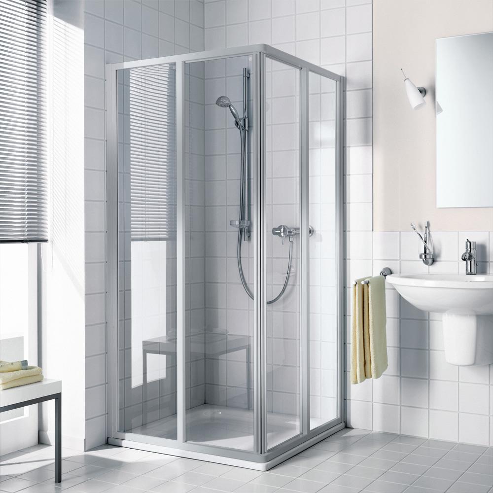 kermi ibiza 2000 gleitt r eckeinstieg 2 teilig halbteil esg transparent silber mattglanz. Black Bedroom Furniture Sets. Home Design Ideas