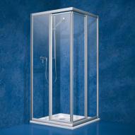 Koralle Twiggy Top Pendeltür Eckeinstieg Polyrit aquaperl transparent / Silber matt
