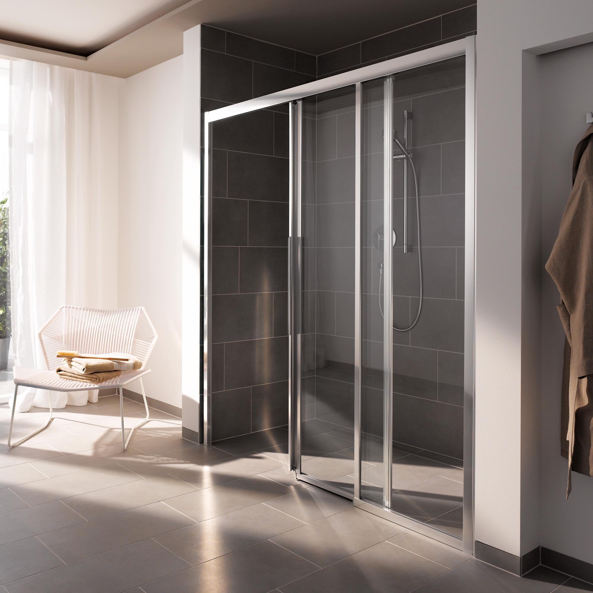 koralle myday comfort schiebet r 3 teilig sbf3f esg transparent incl glasplus silber poliert. Black Bedroom Furniture Sets. Home Design Ideas