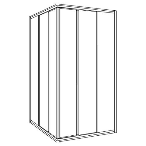 koralle twiggy top eckduschen schiebet r 3 teilig polyrit aquaperl transparent silber matt. Black Bedroom Furniture Sets. Home Design Ideas