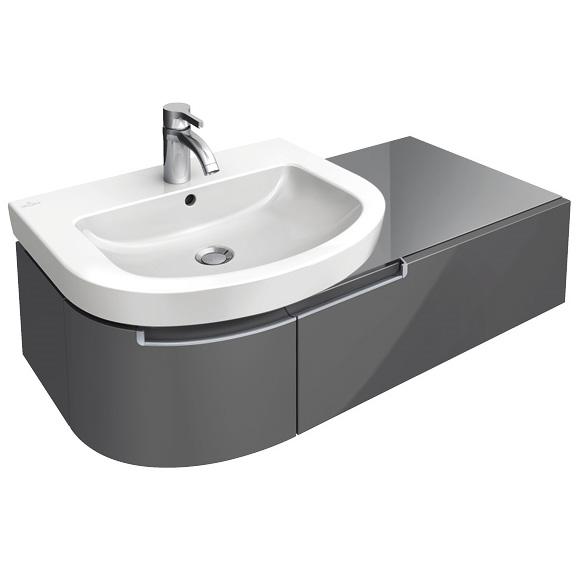 villeroy boch subway 2 0 waschtischunterschrank mit 1 auszug und 1 t r glossy grey. Black Bedroom Furniture Sets. Home Design Ideas